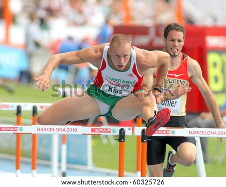 BARCELONA, SPAIN - JULY 29: Daniel Kiss of Hungary competes on the 110m Hurdles event during the 20th European Athletics Championships at the Olympic Stadium on July 29, 2010 in Barcelona, Spain
