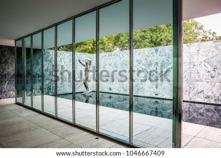 Barcelona, Spain - July 3 2016: Exterior of the Barcelona Pavilion designed by Mies Van Der Rohe for the 1929 World Exposition #1046667409