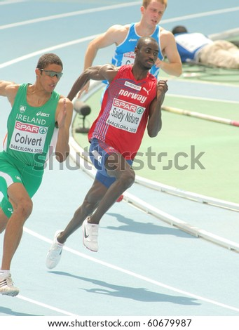 BARCELONA, SPAIN - JULY 29: Jaysuma Saidy Ndure of Norway competes on the Men 200m during the 20th European Athletics Championships at the Olympic Stadium on July 29, 2010 in Barcelona, Spain