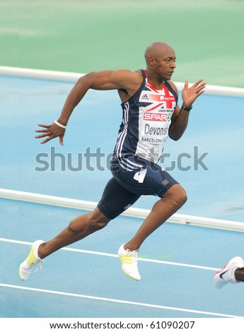 BARCELONA, SPAIN - JULY 29: Marlon Devonish of Great Britain competes on the Men 200m during the 20th European Athletics Championships at the Olympic Stadium on July 29, 2010 in Barcelona, Spain