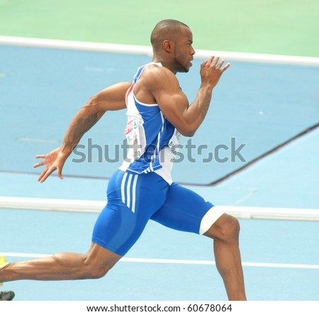 BARCELONA, SPAIN - JULY 29: Martial Mbandjock of France competes on the Men 200m during the 20th European Athletics Championships at the Olympic Stadium on July 29, 2010 in Barcelona, Spain