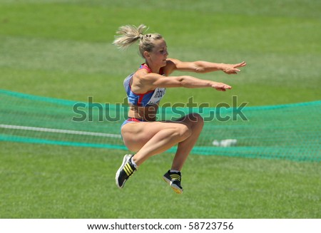 BARCELONA, SPAIN - JULY 27: Renata Medgyesova of Slovakia competes on the Women long jump during the 20th European Athletics Championships at the Olympic Stadium on July 27, 2010 in Barcelona, Spain.