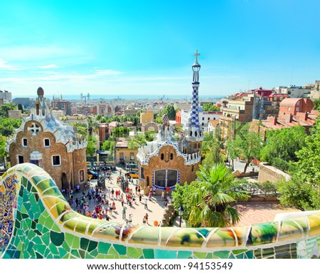 BARCELONA, SPAIN - JULY 25: The Park Guell on July 25, 2011 in Barcelona, Spain. Park Guell is the famous park designed by Antoni Gaudi and built in the years 1900 to 1914 - stock photo