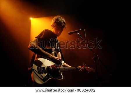 BARCELONA, SPAIN - JUN 20: The Pains of Being Pure at Heart band performs at Apolo on June 20, 2011 in Barcelona, Spain.