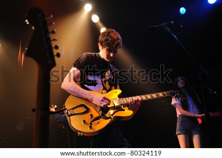 BARCELONA, SPAIN- JUN 20: The Pains of Being Pure at Heart band performs at Apolo on June 20, 2011 in Barcelona, Spain.