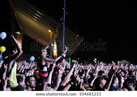 BARCELONA, SPAIN - JUNE 2: Audience at San Miguel Primavera Sound Festival on June 2, 2012 in Barcelona, Spain.