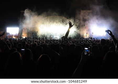 BARCELONA, SPAIN - JUNE 2: Audience at San Miguel Primavera Sound Festival on June 2, 2012 in Barcelona, Spain.