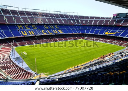 BARCELONA, SPAIN - JUNE 5: Camp Nou, Stadium of Football Club Barcelona on June 5, 2010 in Barcelona, Spain.