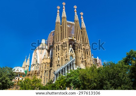 BARCELONA SPAIN JUNE 11 Sagrada Familia in Barcelona in Spain in a summer day on June 11 2014 in Barcelona Spain