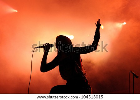 BARCELONA, SPAIN - JUNE 1: Sleigh Bells band performs at San Miguel Primavera Sound Festival on June 1, 2012 in Barcelona, Spain.