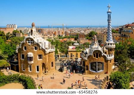 BARCELONA, SPAIN - JUNE 6: The famous Park Guell on June 6, 2010 in Barcelona, Spain. The impressive and famous park was designed by Antoni Gaudi.