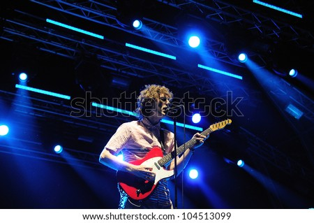 BARCELONA, SPAIN - JUNE 1: The Rapture band performs at San Miguel Primavera Sound Festival on June 1, 2012 in Barcelona, Spain. Dance-punk band based in New York City