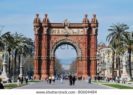 BARCELONA, SPAIN -  MAR 14: The Arc de Triomf, an archway structure built by the architect Josep Vilaseca i Casanovas. March 14, 2009 in Barcelona, Spain.