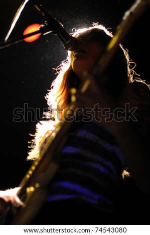BARCELONA, SPAIN - MAR 30: Vivian Girls band performs at KGB on March 30, 2011 in Barcelona, Spain.