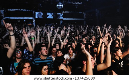 BARCELONA SPAIN MARCH 18 Fans of Dorian spanish famous band at Razzmatazz on March 13 2011 in Barcelona Spain