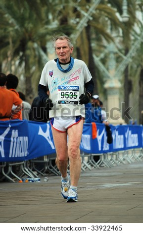 BARCELONA, SPAIN - MARCH 1: International marathon on March 1, 2009 in Barcelona, Spain.  Extent of 42195 metres on a city.  Sportsman participant from Norway is a  Veteran