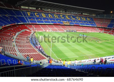 BARCELONA, SPAIN - MAY 23: Camp Nou Stadium after the match against Osasuna on May 23, 2009 in Barcelona, Spain. Barcelona wins spanish league this day.