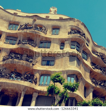 BARCELONA, SPAIN - MAY 23: Casa Mila, or La Pedrera, on May 23, 2010 in Barcelona, Spain. This famous building was designed by Antoni Gaudi