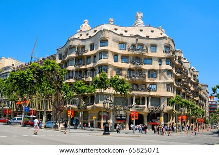 BARCELONA, SPAIN - MAY 23: Casa Mila, or La Pedrera, on May 23, 2010 in Barcelona, Spain. This famous building was designed by Antoni Gaudi.