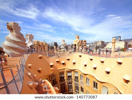 BARCELONA SPAIN MAY 7 Casa Mila or La Pedrera on May 7 2013 in Barcelona Spain This famous building was designed by Antoni Gaudi and is one of the most visited of the city