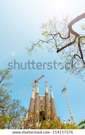 BARCELONA, SPAIN - MAY 14: construction of Sagrada Familia. In process of building since 19 century. Construction budget for 2009 was 18 million euros. May 14, 2012, Barcelona, Spain, Europe.