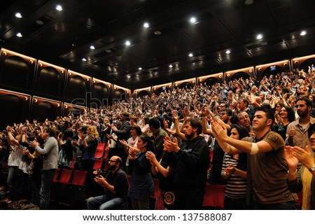BARCELONA SPAIN MAY 3 Fans of Mishima band show their happiness applauding warmly at Teatre Lliure on May 3 2012 in Barcelona Spain