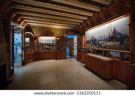 BARCELONA, SPAIN – MAY 13, 2019: Interior view of Casa Amatller at Block of Discord in modernist style. #1362350111