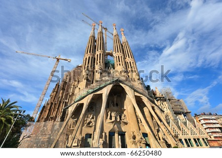 BARCELONA, SPAIN-MAY 10:La Sagrada Familia- a large Roman Catholic church, designed by Gaudi in Barcelona, on May 10, 2010. The church is a UNESCO World Heritage Site.