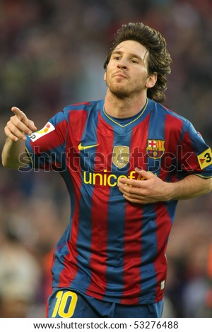 BARCELONA, SPAIN - MAY 16: Leo Messi of Barcelona during a Spanish League match between FC Barcelona and Valladolid at the Nou Camp Stadium on May 16, 2010 in Barcelona, Spain