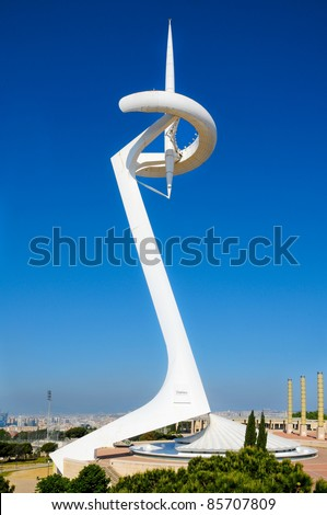 BARCELONA, SPAIN - MAY 23: Montjuic Communications Tower on May 23, 2010 in Barcelona, Spain. This tower was built for the Olympic Games in 1992.