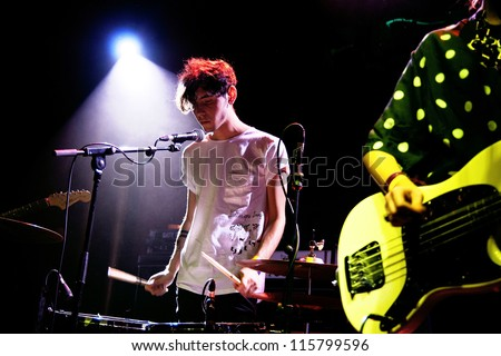 BARCELONA, SPAIN - MAY 31: Nicola Lampred, guitarist and drummer of Be Forest band, performs at San Miguel Primavera Sound Festival on May 31, 2012 in Barcelona, Spain.