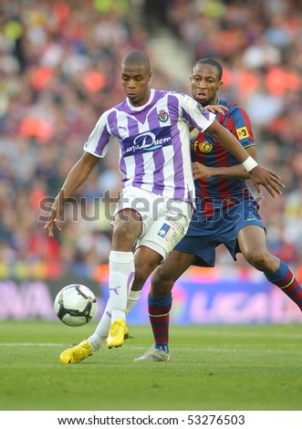 BARCELONA, SPAIN - MAY 16: Pele of Valladolid during a Spanish League match between FC Barcelona and Valladolid at the Nou Camp Stadium on May 16, 2010 in Barcelona, Spain