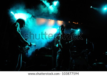 BARCELONA, SPAIN - MAY 29: The English band Dutch Uncles performs at Apolo on May 29, 2012 in Barcelona, Spain. Primavera Sound Festival.