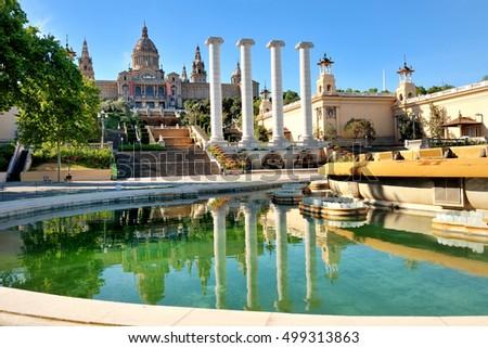 Barcelona, Spain - National art museum and fountain in Placa de Espanya #499313863