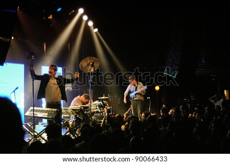 BARCELONA, SPAIN - NOV 30: Ian Williams (guitarist), John Stanier (drummer) and Dave Konopka (guitarist), members of Battles band, performs at Apolo on November 30, 2011 in Barcelona, Spain.
