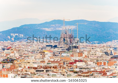 Barcelona Spain November 23 Aerial view at Barcelona on November 23 2013 Famous Sagrada Familia Cathedral at the background