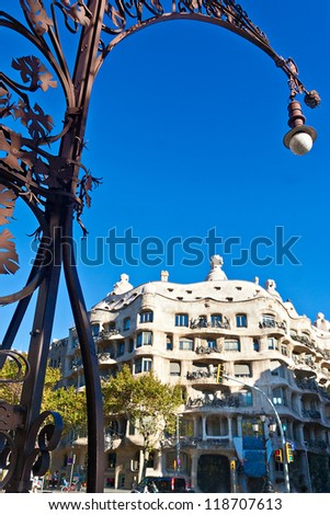BARCELONA, SPAIN - NOVEMBER 11: Casa Mila or La Pedrera was designed by Antoni Gaudi. This house has attracted more than two million visitors. November 11, 2012 in Barcelona, Spain