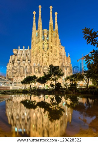 BARCELONA SPAIN NOVEMBER 5 Sagrada Familia at night on November 5 2012 in Barcelona Spain This impressive cathedral was originally designed by Antoni Gaudi is still being built since 1882