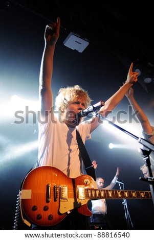 BARCELONA, SPAIN - OCT 27: Kakkmaddafakka band performs at Music City Hall on October 27, 2011 in Barcelona, Spain.