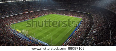 BARCELONA SPAIN OCTOBER 22 A sold out Barcelona football stadium Camp Nou during the match between FC Barcelona and FC Sevilla on October 22 2011 in Barcelona Spain
