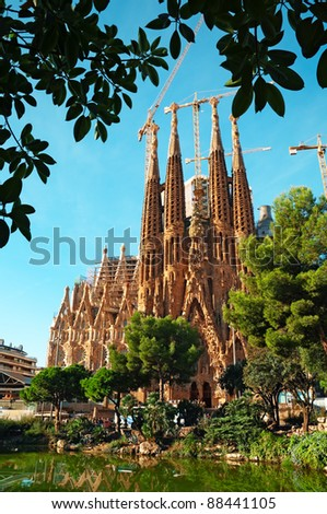 BARCELONA, SPAIN - OCTOBER 12: Facade of Sagrada Familia on October 12 , 2011 in Barcelona, Spain. Sagrada Familia church is designed by the famous architect Antonio Gaudi.