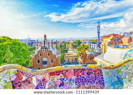 Barcelona, Spain, Park Guell. Fanrastic view of famous bench in Park Guell in Barcelona, famous and extremely popular travel destination in Europe. #1111399439