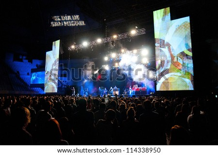 BARCELONA, SPAIN - SEPT 29: Manic Street Preachers band performs at Palau Sant Jordi on September 29, 2012 in Barcelona, Spain. Dia de San Miguel Festival.