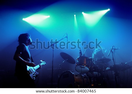 BARCELONA, SPAIN - SEPT 2: Midnight Juggernauts band performs at Razzmatazz Clubs on September 2, 2011 in Barcelona, Spain.