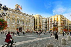 BARCELONA, SPAIN - SEPT  01, 2014: Placa de Sant Jaume.The central area of Barcelona, the building of the Government of Catalonia  September 01, 2014 in Barcelona, Spain.