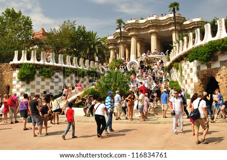 BARCELONA,SPAIN - SEPTEMBER 18 : Entrance to the Guell park built by architect Gaudi on September 18, 2012 in Barcelona, Spain.