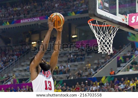 BARCELONA SPAIN SEPTEMBER 11 James Harden of USA in action at FIBA World Cup basketball match between USA Team and Lithuania final score 96-68 on September 11 2014 in Barcelona Spain