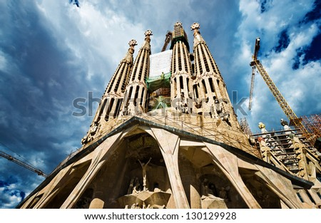 BARCELONA SPAIN - SEPTEMBER 13: La Sagrada Familia - the impressive cathedral designed by Gaudi, which is being build since 19 March 1882 and is not finished yet September 13, 2012 in Barcelona, Spain