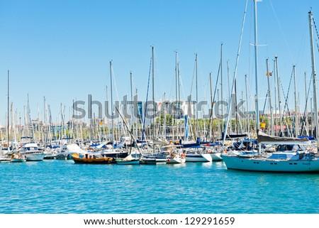 BARCELONA, SPAIN-SEPTEMBER 14: Marina in port Vell on September 14 2012, 2009 in Barcelona. More than 7 million visitors were in Barcelona in 2012.