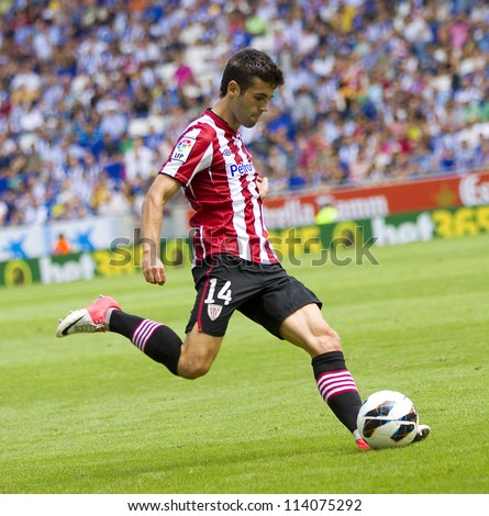 BARCELONA, SPAIN - SEPTEMBER 16: Markel Susaeta of Athletic in action during the Spanish League match between Espanyol and Athletic Club, final score 3-3, on September 16, 2012, in Barcelona, Spain.